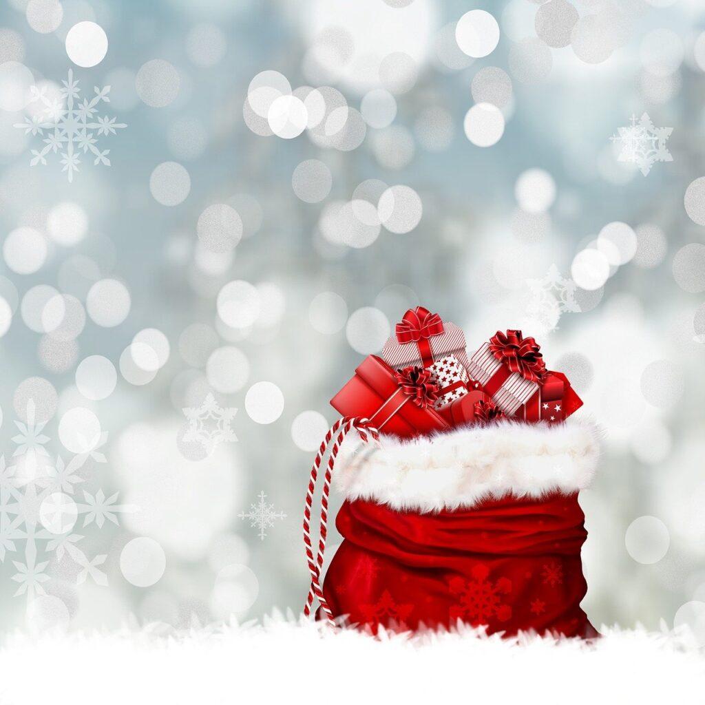 christmas, gifts, gift bag